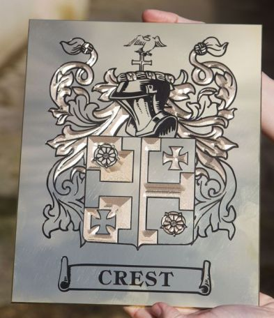 Family crest etched on Brass gift