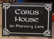 Black Granite House Sign with celtic border