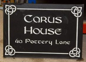 Black Granite House Sign with celtic border