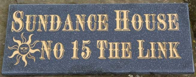 Black Quartz Corian House Sign