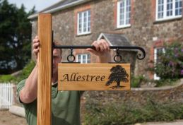 Oak Post and Sign with Scroll End Bracket