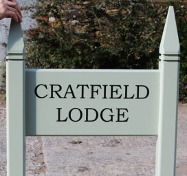 Painted wooden Entrance Sign with Posts