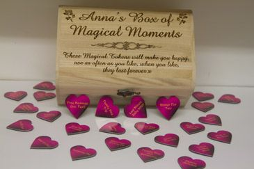 Personalised chest box with love heart quotes