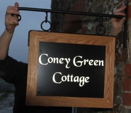 Hanging Oak framed Aluminium composite House Sign