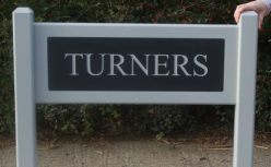 Entrance sign with Corian insert