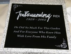 Black aluminium plaque on granite plinth