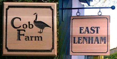 Hanging Red Cedar House Sign with bracket