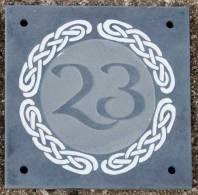 Slate house number using celtic designs