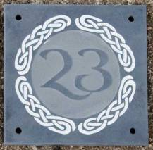 Slate house number using celtic designs