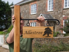 "Hanging Oak Sign on wrought Iron scroll bracket and 3x3"" Oak Post"