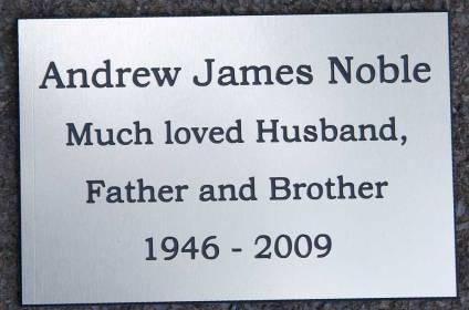Engraved aluminium memorial plaque.