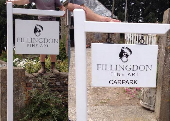 White painted oak signs
