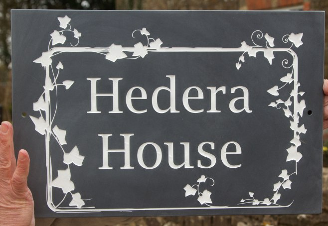 Beautiful Slate House sign