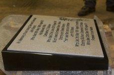 Corian Plaque mounted on Black Granite Wedge