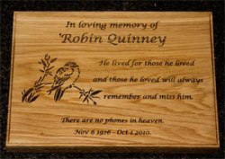Oak Engraved Grave Marker