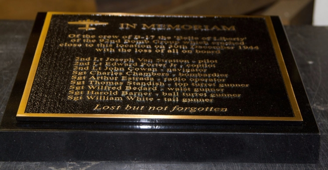 Cast Bronze Memorial Mounted on Black Granite Wedge