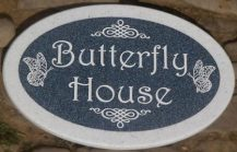 Shaped two tone Corian House Sign