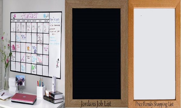 whiteboard and black board