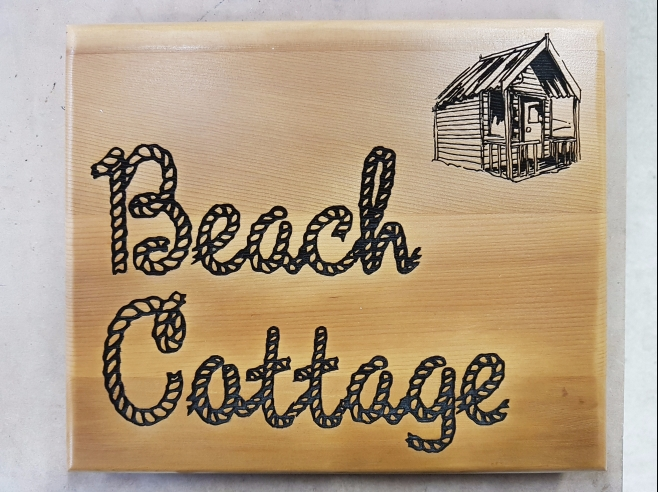 Wooden Oak Beach Sign with rope font