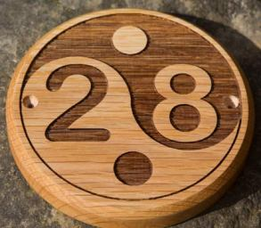 Wooden Circle number sign